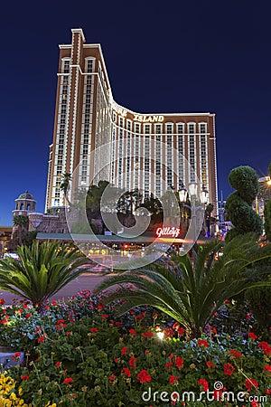 Treasure Island hotel at night in Las Vegas, NV on April 30, 201 Editorial Photography