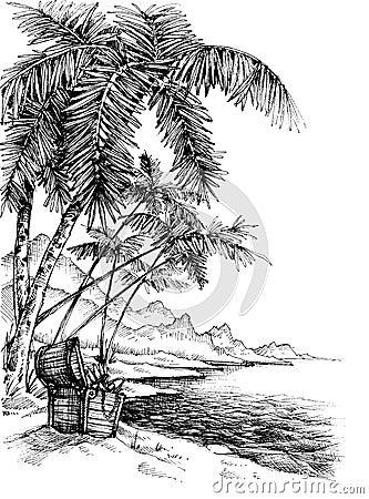 treasure island sketch stock vector image 65681822