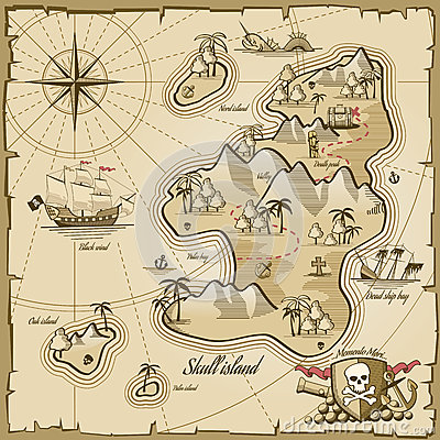 Free Treasure Island Vector Map In Hand Drawn Style Stock Images - 61710414