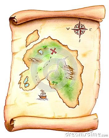 Free Treasure Map Royalty Free Stock Image - 1848956