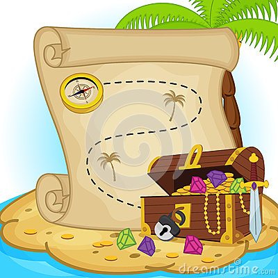 Free Treasure Map And Treasure Chest On Island Royalty Free Stock Photo - 49274865