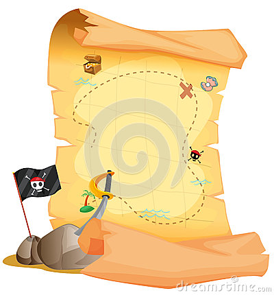 A treasure map beside the flag and the sword