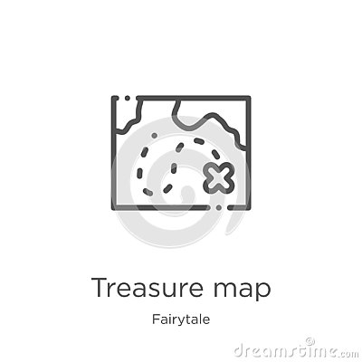 treasure map icon vector from fairytale collection. Thin line treasure map outline icon vector illustration. Outline, thin line Vector Illustration