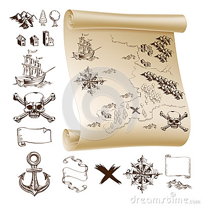 Free Treasure Map Kit Royalty Free Stock Photo - 43798265