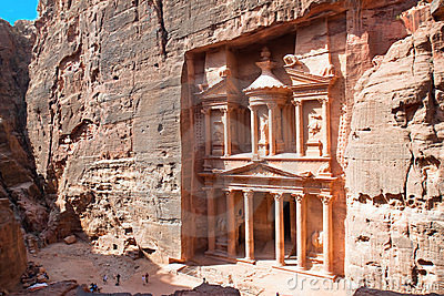 Treasury (Al-Khazneh) in ancient city of Petra in