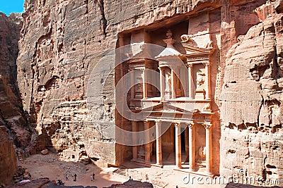Treasury (Al-Khazneh) in ancient city of Petra in