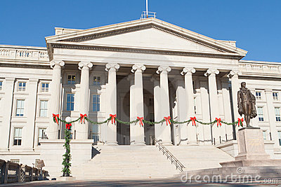 Treasury Building Decorated Christmas Red Bows DC
