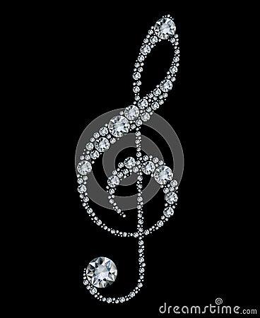 Treble диаманта clef