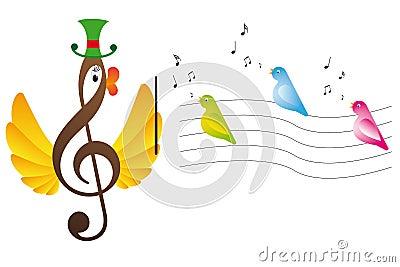 Treble clef is bird