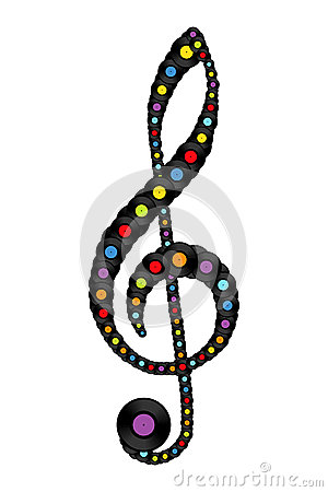 Treble clef consisting of vinyl records