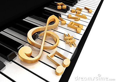 Treble clef is on the piano