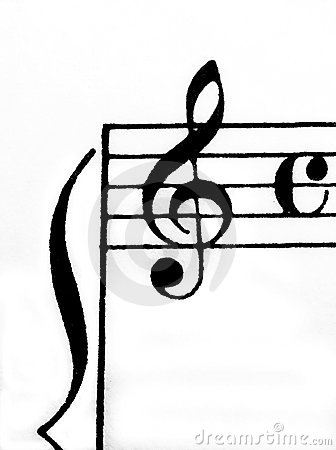 Treble clef and time signiture on white paper