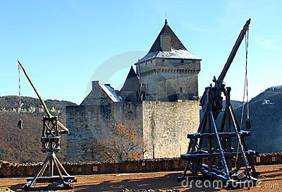 Trebuchet and Castelnaud Castle in Dordogne France