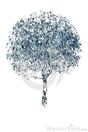 Tree 3D rendered blue