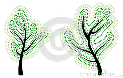Tree with Abstract Green Leaves