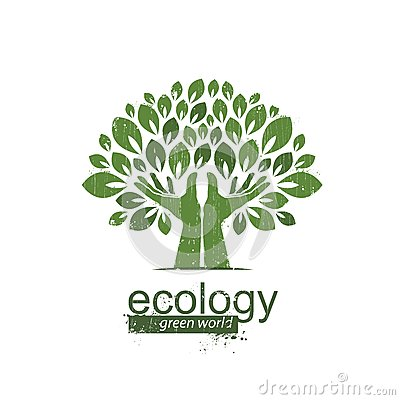 Free Tree And Hands. Logo, Icon. Vector Illustration Stock Image - 48359441