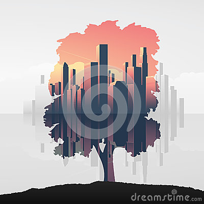 Free Tree And Urban Business Skyline Double Exposure Vector Illustration Background. Symbol Of Environment, Nature, Ecology. Royalty Free Stock Photos - 77144498