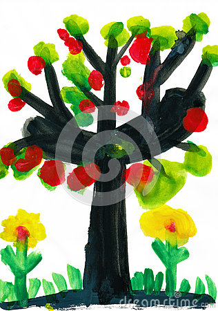 Tree with apples, watercolor paint