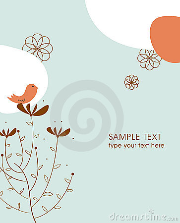 Tree and bird illustration card