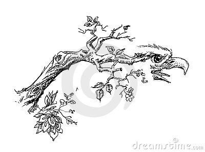 Tree branch with eagle head