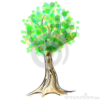 Tree cartoon icon isolated on white