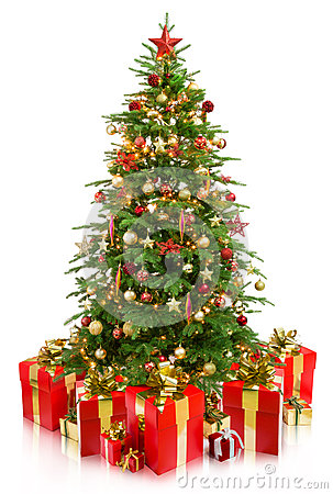 Tree christmas with gifts Stock Photo