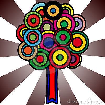 Tree with colorful circles for foliage