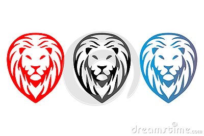 Tree colorful isolated lions heads. Vector Illustration