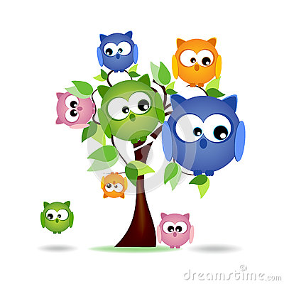 Tree with colorful owls family