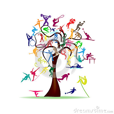 Tree with colorful sport icons