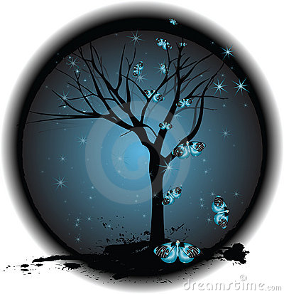 Tree on Dark Background with Stars, Butterflies