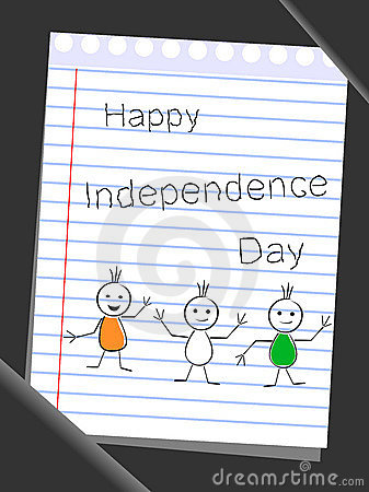 Tree doodles with text Happy Independence Day.