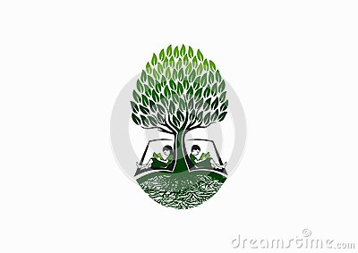 Tree education logo, early book reader icon, school knowledge symbol and nature childhood study concept design Vector Illustration