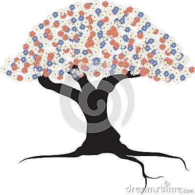 Tree , flowers , logo ,vector ,illustrator Stock Photo