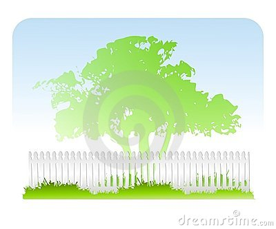 Tree Grass White Fence Background