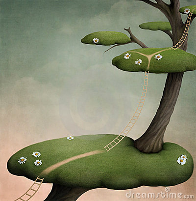 Tree with   green islands and ladder