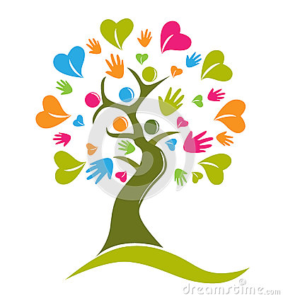 Free Tree Hands And Hearts Figures Logo Royalty Free Stock Photos - 45792398