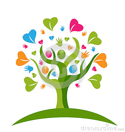 Free Tree Hands And Hearts Figures People Logo Royalty Free Stock Photo - 44899025