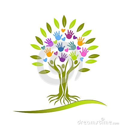 Free Tree Hands And Hearts Logo Royalty Free Stock Photos - 35973128