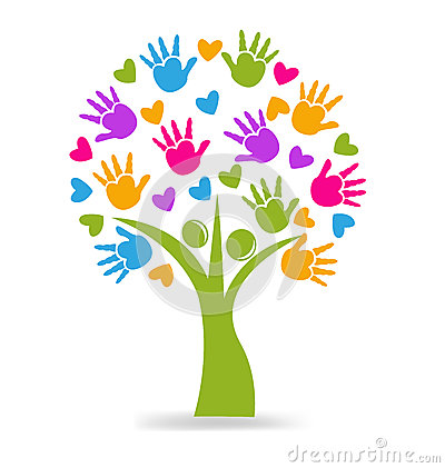 Tree Hands And Hearts ...A Circle Of Hands Clipart