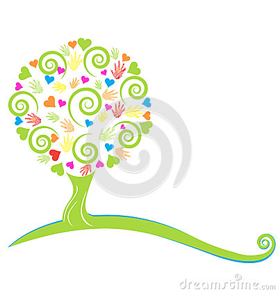 Free Tree Hearts And Painted Hands Royalty Free Stock Photo - 30641475