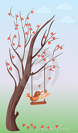Tree of hearts and two love birds on a swing