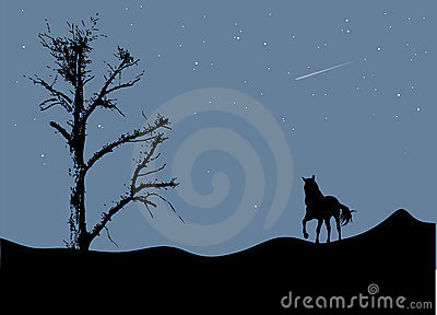 Tree and horse in moonlight