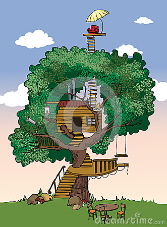 Tree house royalty free stock photography image 33286237 for Colorful tree house