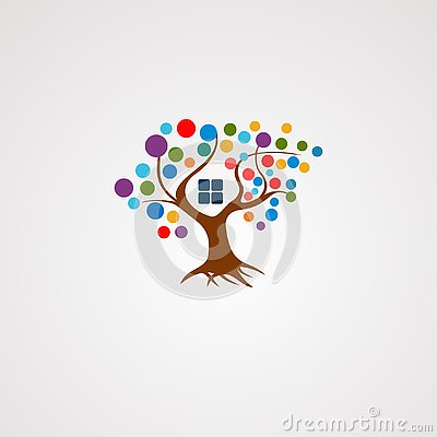 Tree house logo vector with colorful concept, icon, element, and template for company Vector Illustration
