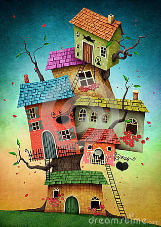 Tree houses Stock Photo
