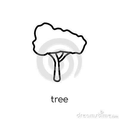Tree icon. Trendy modern flat linear vector Tree icon on white b Vector Illustration