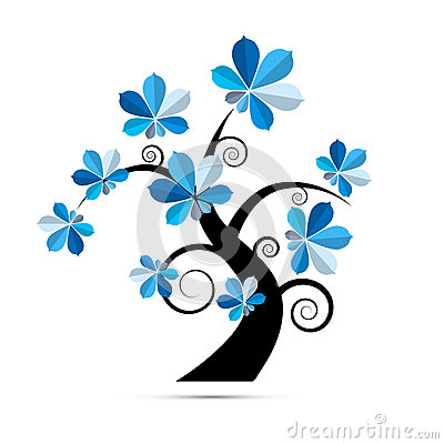 Free Tree Illustration With Blue Chestnut Leaves Royalty Free Stock Photography - 36464967