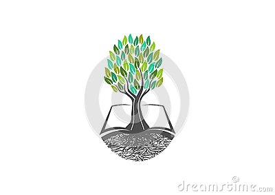 Tree knowledge,book logo,natural,learning,icon,healthy,symbol,plants, school,garden, open books,organic,landscape and education co Vector Illustration