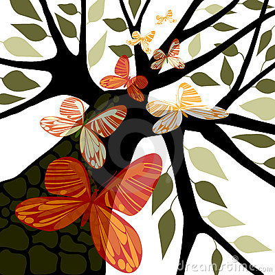 Tree with leaves & butterflies